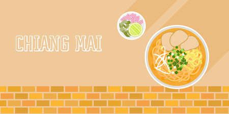 Khao Soi, coconut curry noodle soup with beef and side dish, red onions and lime, Chiang mai, Northern Thailand and Laos food, flat design vector on brick background
