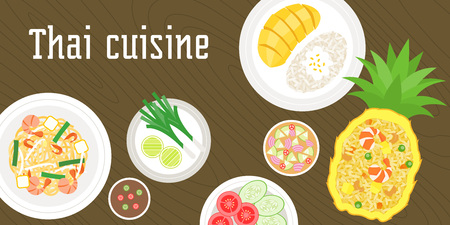 Thai dishes, mango with sticky rice, pad thai noodles, fried rice bake with pineapple on wooden background Illustration