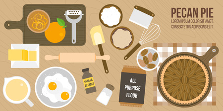 cooking pecan pie poster, ingredients and utensils, flat design poster