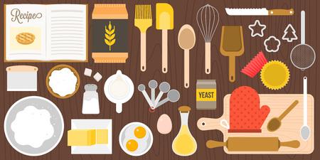 gebruiksvoorwerpen en ingrediënten voor bakkerij op houten achtergrond in bovenaanzicht, platte ontwerp vector in luchtfoto Stock Illustratie