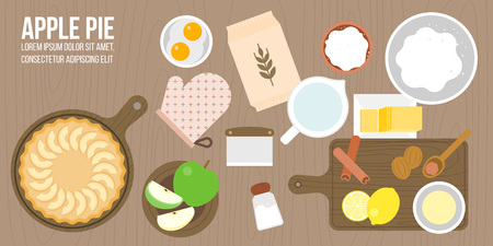 rolling bag: apple pie and ingredients, utensils in aerial view such as rolling pin, apple, nutmeg, cinnamon, wooden tray plate, lemon juice, sugar,flat design for cover, banner or poster Illustration
