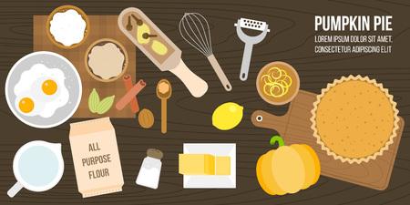 パンプキンパイ食材や調理器具、レモンの皮、すべての目的小麦粉、バター、スパイス、泡立て器、フラット デザインのベクトルなどのポスター