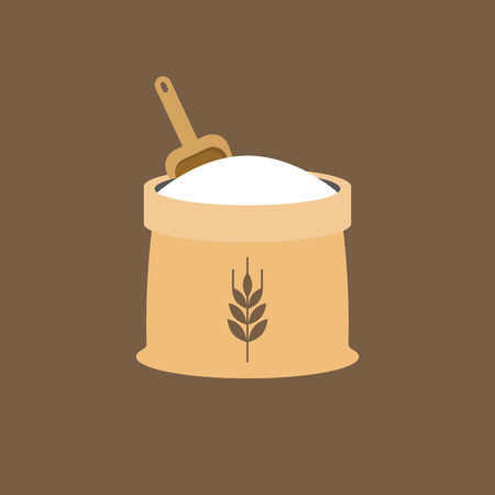 Wheat flour icon with wooden scoop, flat design vector