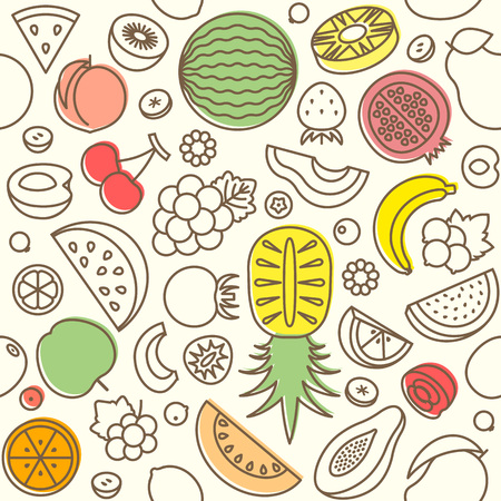 suitable: Seamless pattern of various fruits, watermelon, pine apple, strawberry, berries, outline design suitable for banner or backdrop and wrapping paper Illustration