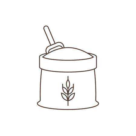 A wheat flour icon, outline design.