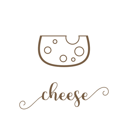 suitable: Cheese icon and calligraphic hand lettering vector, suitable for use as logo