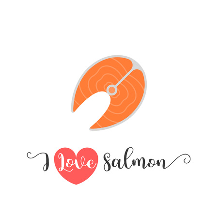 caligraphy: I love salmon hand lettering and salmon icon, flat design vector