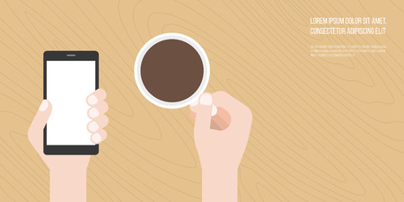suitable: hand holding smart phone and coffee cup with free space on wooden background, flat design vector suitable for banner, cover or use as backdrop about life style concept