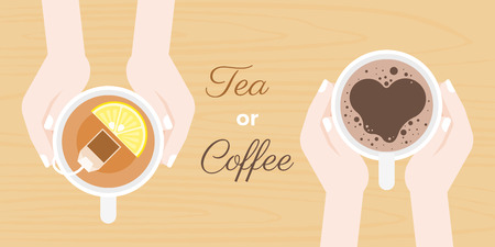 hand holding coffee and tea cup, with headline tea or coffee, flat design vector suitable for banner, cover or use as backdrop as chosen beverage concept Иллюстрация