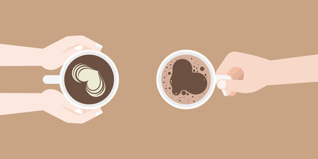 man and woman holding coffee cup in hand with latte art and crema of heart shape, flat design vector suitable for banner, cover or use as backdrop Vectores