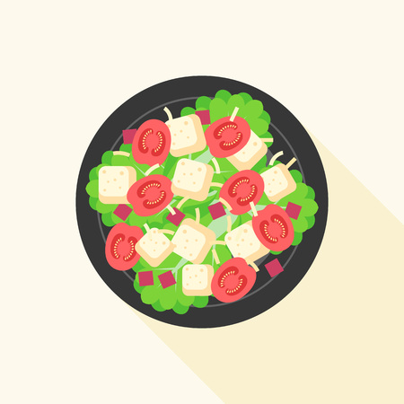 Caesar salad in bowl, design vector with long shadow 向量圖像