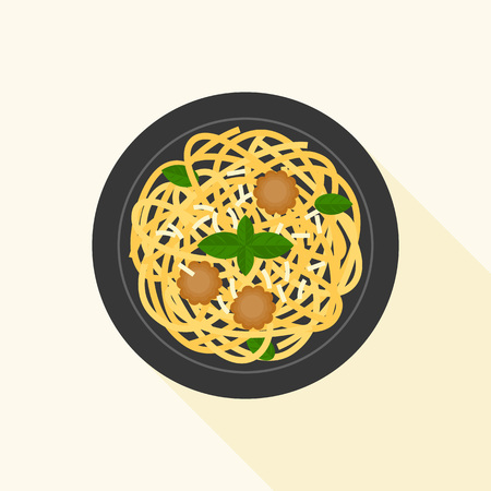 spaghetti bolognese or meat ball in aerial view, flat design vector with long shadow Imagens - 81190412