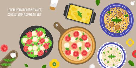 italian cuisine, caesar salad, margarita pizza, risotto rice, lasagna, bologna pasta, flat design vector in aerial view