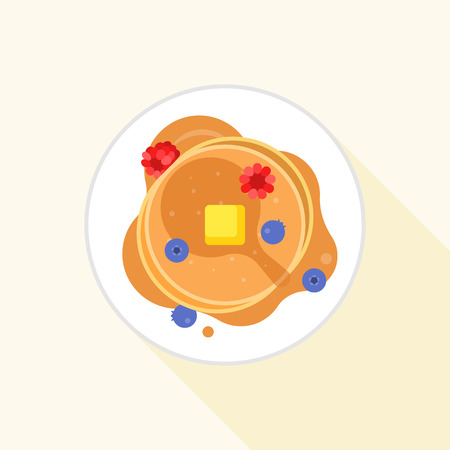 pancake icon it aerial view with maple syrup, butter, blueberry and raspberry, flat design with long shadow