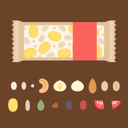 template for making granola bar illustration with ingredient such as nuts, dried fruits, seeds such as cornflakes, cashew nuts, almond, cranberry, peanut, wheat, rye, oat