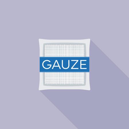 Gaze-Pad für Erste-Hilfe-Symbol, flache Design-Vektor mit langen Schatten