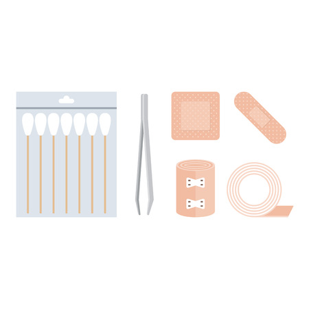 First aid kit, cotton swabs, tweezer, bandage, plaster adhesive tape in flat design vector Illustration
