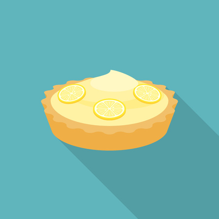 Pie lemon or cheese tart with lemon slice illustration, flat design with long shadow.