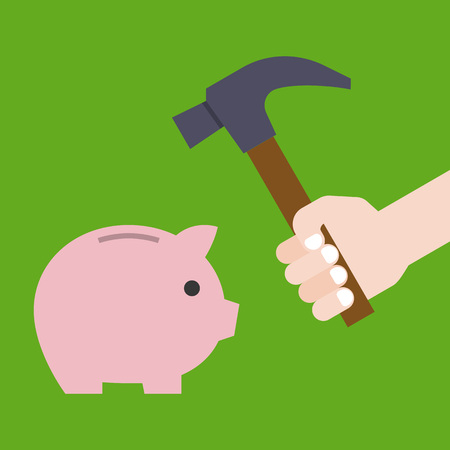 hand holding hammer prepare for crashing piggy bank, flat design vector for financial and saving concept