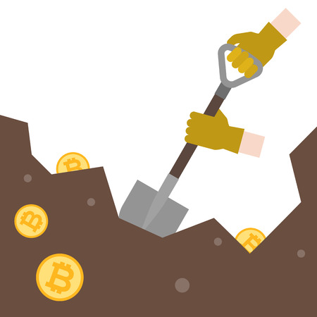 hand with glove use shovel digging for bitcoin in ground, bitcoin mining concept