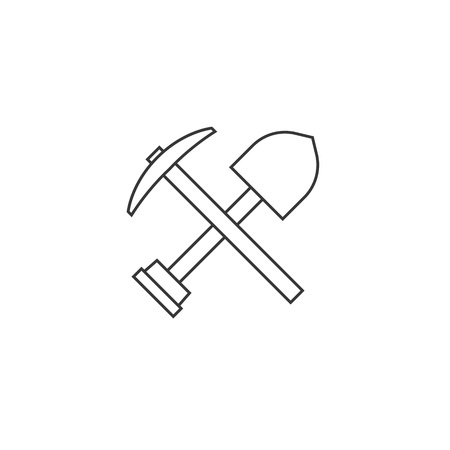 Pick axe and shovel icon, outline design
