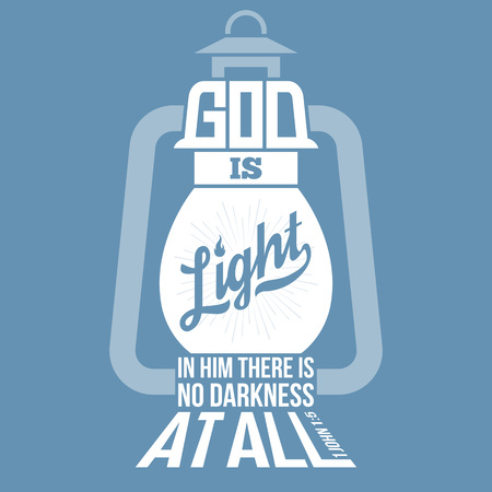 bible quotes, god is light in vintage lamp shape, from new testament from john, silhouette design Vectores