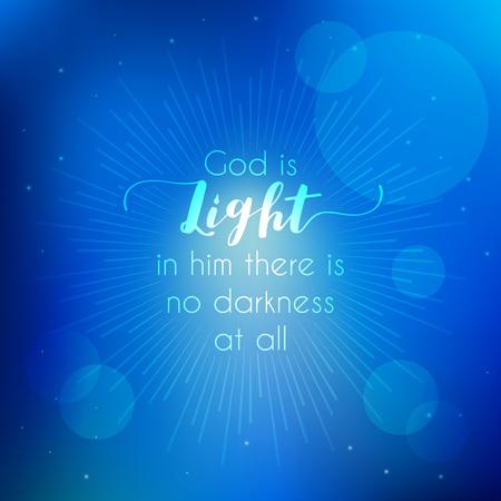 citas bíblicas, dios es luz del nuevo testamento juan con fondo bokeh y estallido del sol Ilustración de vector
