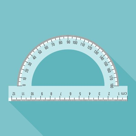 Semi circle ruler in real scale for measuring angle, flat design with long shadow