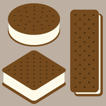 sandwich ice cream illustration collection, flat design vector