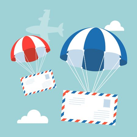 Envelope with parachute in the sky with flying plane and clouds on background, flat design vector for airmail concept
