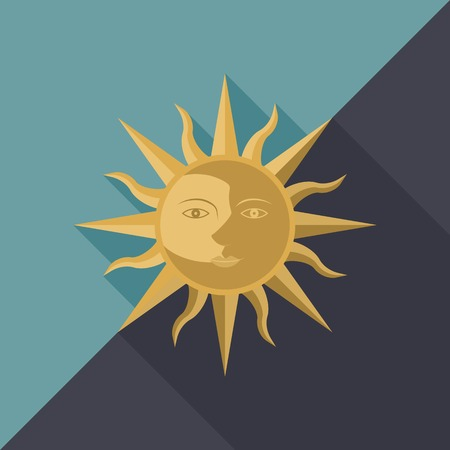 Combination of sun, moon and star with face, icon for use as day and night or equinox, flat design