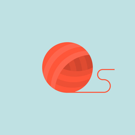 Wool yarn ball, flat design icon