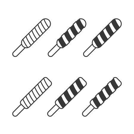 twist popsicles ice cream collection, line and silhouette icon