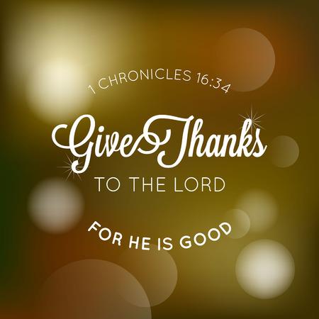 Rendre grâce au seigneur typographique de la bible, pour l'affiche de thanksgiving avec fond de bokeh Banque d'images - 83998256