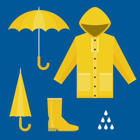raincoat, rubber boots, open and close umbrella, raindrops, set of rainy season in flat design vector
