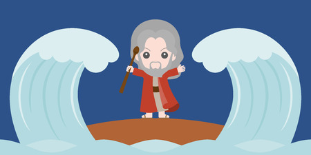 A moses dividing the red sea in two parts, flat design cute character.