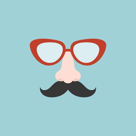 nose mustache glasses vector illustration, flat design