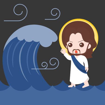 Jesus andando no mar e acalma-se, tempestade, ilustração da história da Bíblia, design plano