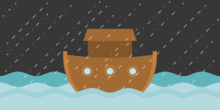 Noah's ark in raining, vector illustration flat design 일러스트