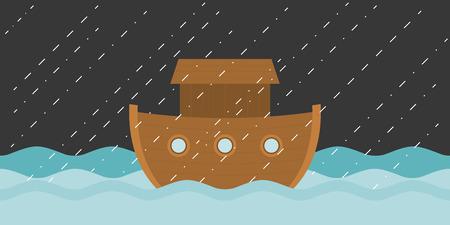 Noah's ark in raining, vector illustration flat design Illustration