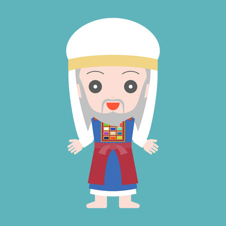 high priest of Jewish in cute character, flat design cartoon Иллюстрация