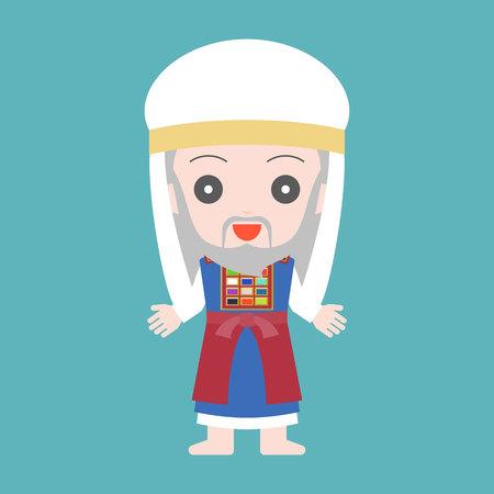 high priest of Jewish in cute character, flat design cartoon Ilustração