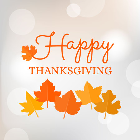 Happy thanksgiving typographic headline with maple leave on bokeh background for poster or banner Illustration