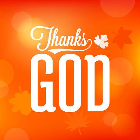 Thanks God saying on orange background, vector illustration.