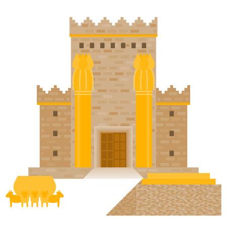 King Solomon's tempel (Beit HaMikdash in Hebreeuwse naam) met grote bekken oproep Brazen Zee en bronzen altaar, platte ontwerp vectorillustratie