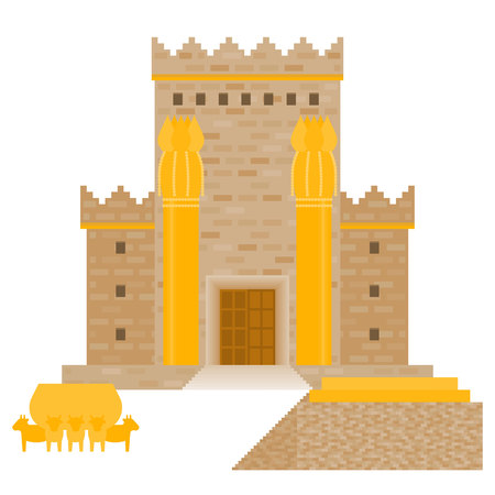 King Solomons temple (Beit HaMikdash in hebrew name) with large basin call Brazen Sea and  bronze altar, flat design vector illustration Illustration
