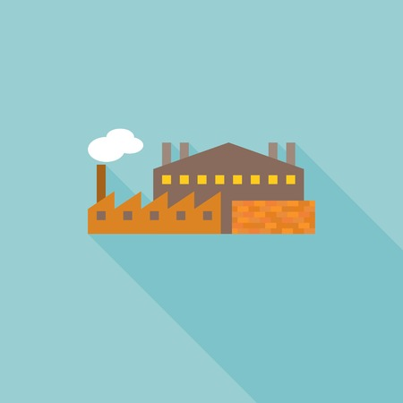 Factory and wall of brick, industrial icon flat design with long shadow Ilustração
