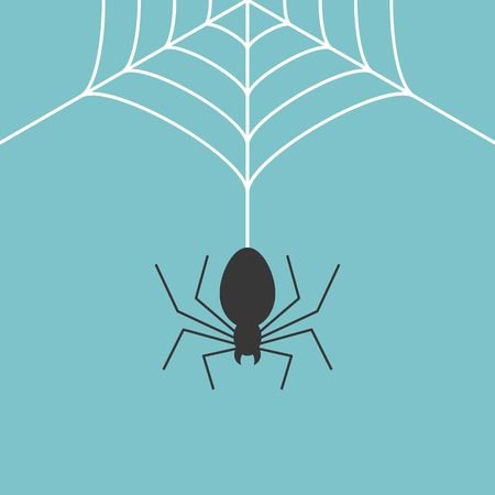 spider web: Cobweb and spider, flat design vector use for halloween day Illustration