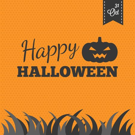 Happy halloween and 31 october typographic with jack o lantern pumpkin, grass, design in vintage style for poster  or greeting card Ilustracja
