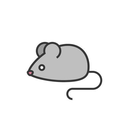 Rat or mouse outline icon with fill colour, isolated on white background, vector illustration.